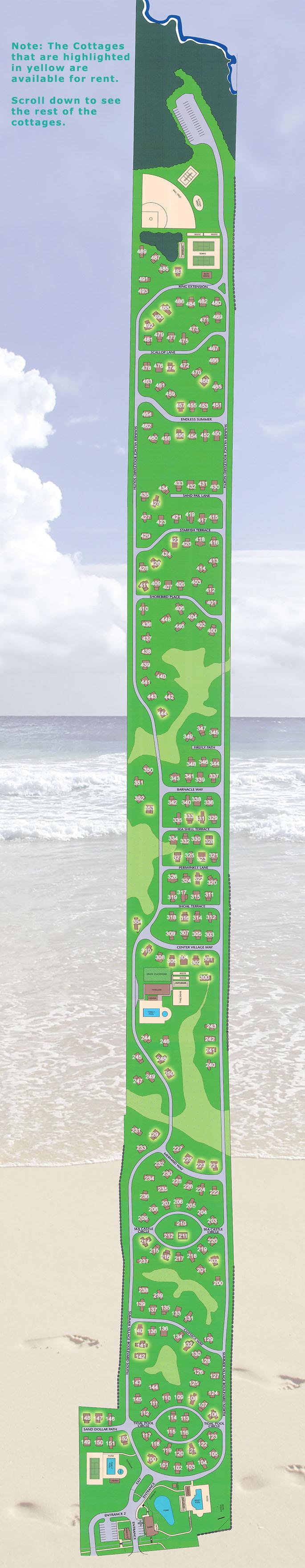 Sitemap of cottages at Cottages at Summer Village